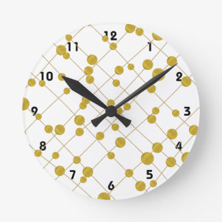 Gold foil beads pattern modern and trendy round clock
