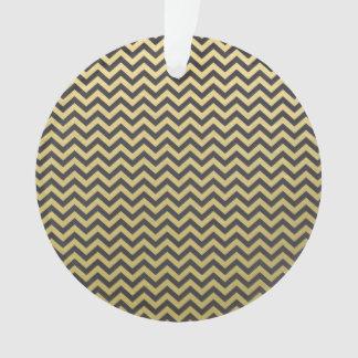 Gold Foil Black Chevron Pattern