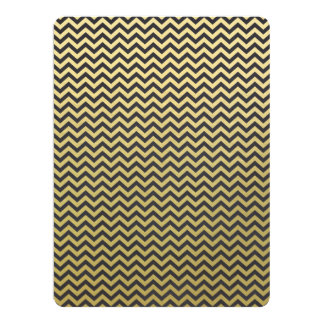 Gold Foil Black Chevron Pattern 6.5x8.75 Paper Invitation Card