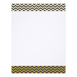 Gold Foil Black Chevron Pattern Letterhead