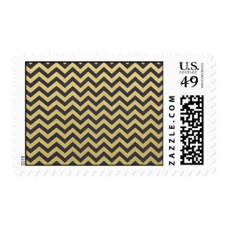 Gold Foil Black Chevron Pattern Postage Stamp