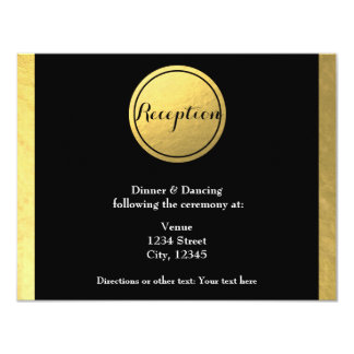Gold Foil & Black Circle Wedding Reception Card