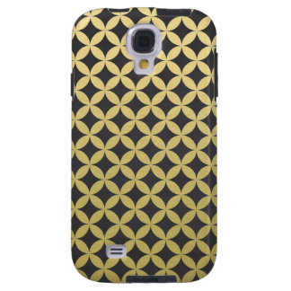Gold Foil Black Diamond Circle Pattern Galaxy S4 Case