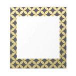 Gold Foil Black Diamond Circle Pattern Note Pad