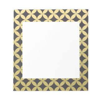 Gold Foil Black Diamond Circle Pattern Notepad