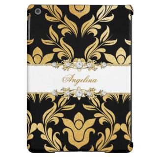 Gold Foil Black Faux Silver White Diamond Jewel iPad Air Case