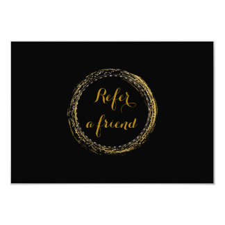 Gold Foil & Black Glamour Circle Referral Card