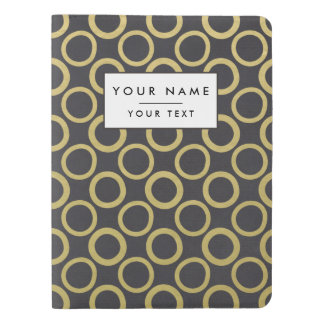 Gold Foil Black Polka Dots Pattern Extra Large Moleskine Notebook Cover With Notebook