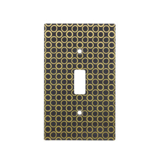 Gold Foil Black Polka Dots Pattern Light Switch Cover