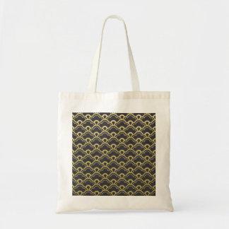 Gold Foil Black Scalloped Shells Pattern Budget Tote Bag
