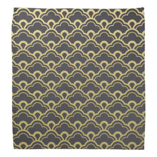 Gold Foil Black Scalloped Shells Pattern Bandana