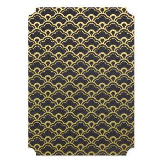 Gold Foil Black Scalloped Shells Pattern Card