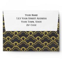 Gold Foil Black Scalloped Shells Pattern Envelope
