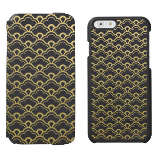 Gold Foil Black Scalloped Shells Pattern Incipio Watson™ iPhone 6 Wallet Case