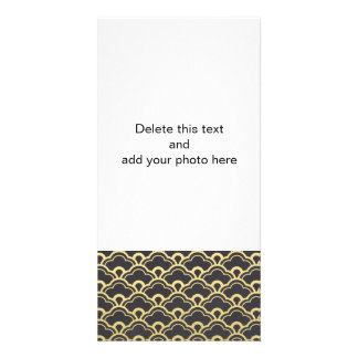 Gold Foil Black Scalloped Shells Pattern Personalized Photo Card