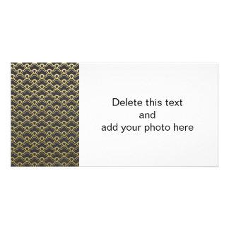 Gold Foil Black Scalloped Shells Pattern Photo Card Template