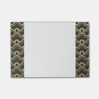 Gold Foil Black Scalloped Shells Pattern Post-it® Notes