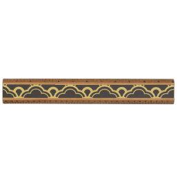 Gold Foil Black Scalloped Shells Pattern Ruler