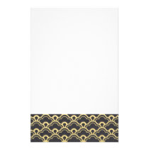 Gold Foil Black Scalloped Shells Pattern Stationery