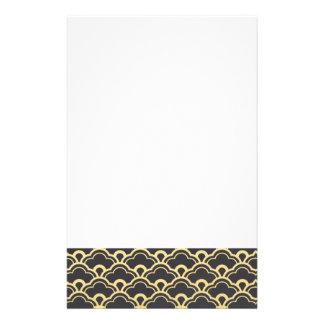 Gold Foil Black Scalloped Shells Pattern Personalized Stationery