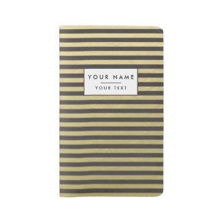 Gold Foil Black Stripes Pattern Large Moleskine Notebook Cover With Notebook