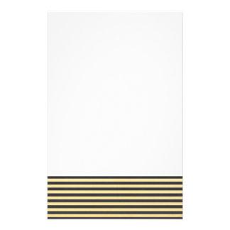 Gold Foil Black Stripes Pattern Stationery