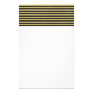 Gold Foil Black Stripes Pattern Custom Stationery