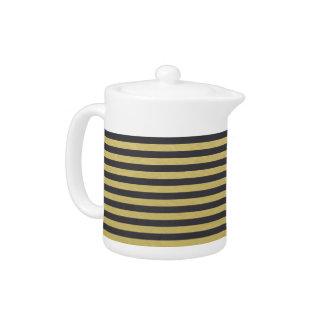 Gold Foil Black Stripes Pattern