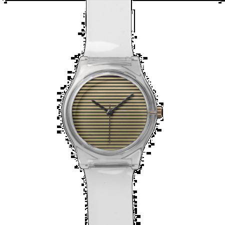 Gold Foil Black Stripes Pattern Watch