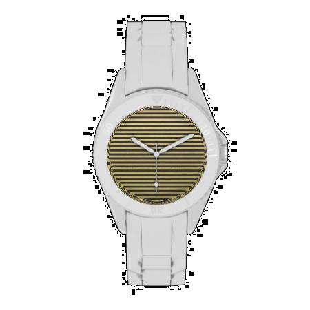 Gold Foil Black Stripes Pattern Wrist Watches