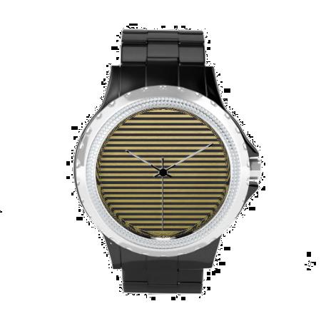 Gold Foil Black Stripes Pattern Wristwatches