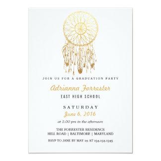 Gold Foil Bohemian Dream Catcher Graduation Party Card