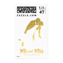 Gold Foil Bride and Groom Mr. and Mrs. Wedding Postage