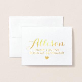 Gold Foil Bridesmaid Thank You | Bridesmaid Card