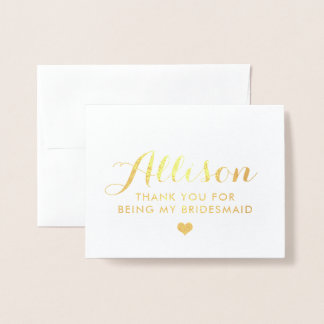 Gold Foil Bridesmaid Thank You   Bridesmaid Card