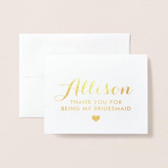 gold foil bridesmaid thank you bridesmaid card zazzle com