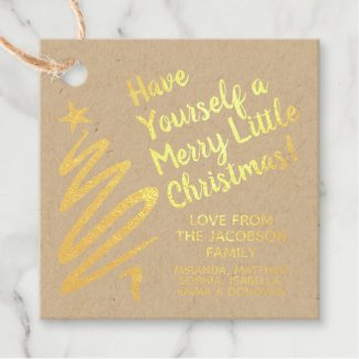 Gold Foil Brushstroke Merry Little Christmas Gift Favor Tags