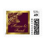 Gold Foil Burgundy Botanical Rose Wedding Postage