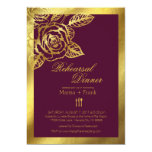 Gold Foil Burgundy Vintage Roses Rehearsal Dinner Card