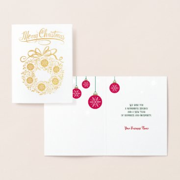 Gold Foil Business Merry Christmas Wreath Card