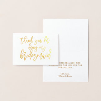 Gold Foil Calligraphy Wedding Thank You Card
