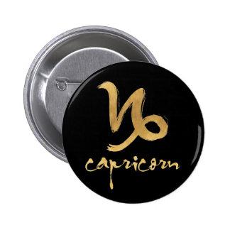 Gold Foil Capricorn Zodiac Symbol Pinback Button
