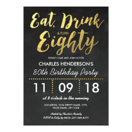 GOLD FOIL CHALKBOARD EIGHTY BIRTHDAY PARTY | 80TH CARD