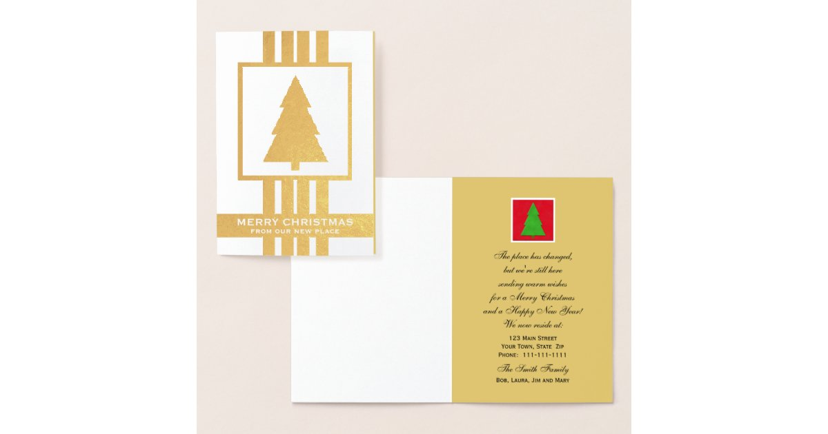 Gold Foil Change of Address Christmas Card | Zazzle.com