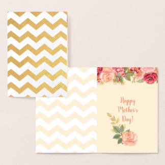 Gold Foil Chevron Stripes | Roses Mother's Day Foil Card