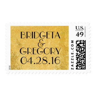 gold foil chic wedding postage stamp