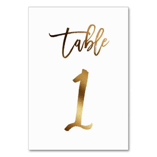 Gold foil chic wedding table number | Table 1