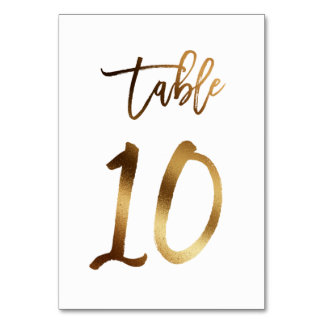 Gold foil chic wedding table number | Table 10