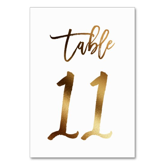 Gold foil chic wedding table number | Table 11