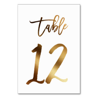 Gold foil chic wedding table number | Table 12